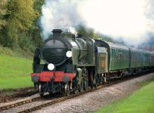 A train on the Bluebell Railway