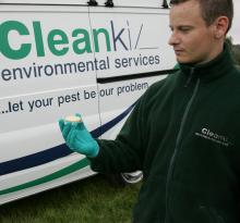 Cleankill pest controller in front of van